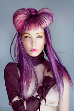 pink and purple fantasy hair Creative Hairstyles, Unique Hairstyles, Formal Hairstyles, Braided Hairstyles, Wedding Hairstyles, Hair Art, My Hair, Avant Garde Hair, Mode Costume