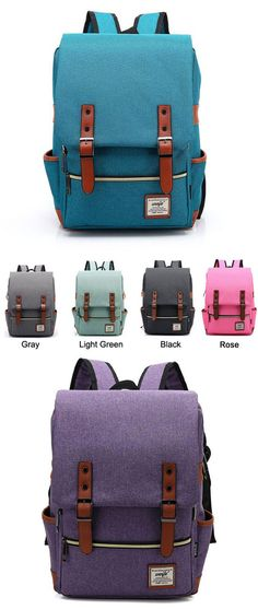 I like the blue and gray! Vintage Canvas Travel Backpack Leisure Backpack&Schoolbag #backpack #school #bag #travel #canvas #rucksack