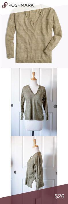 🆑 J.CREW Wool Linen V Neck Tunic Sweater Green J.CREW Size Small S Merino Wool Linen V Neck Tunic Sweater Green Olive #E9434 J. Crew Tops Tees - Long Sleeve