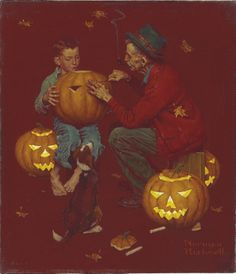 norman rockwell 1894 1978 old man and boy halloween signed normanrockwell lower right oil on canvas 15 x 13 in 381 x 33 cm painted in 1952