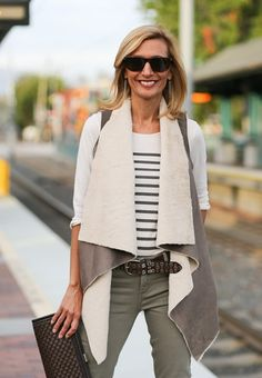 Mist Faux Suede Vest With Faux Fur Linning Is a Stunning Piece from Jacket Society Cozy And Chic To Be Dress Up Or Wear Casually Vest Outfits For Women, Fur Vest Outfits, Jackets For Women, Clothes For Women, Stylish Outfits, Fashion Outfits, Women's Fashion, Street Style Trends, Autumn Winter Fashion