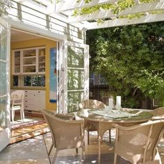 French doors open out to a beautiful patio, just off the kitchen!