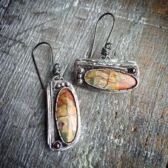 Sterling Silver Jasper Stone Garnet Earrings OOAK by joykruse Garnet Earrings, Stone Earrings, Handmade Sterling Silver, Sterling Silver Jewelry, Artisan Jewelry, Handmade Jewelry, Jasper Stone, Jewelry Findings, Jewelry Supplies