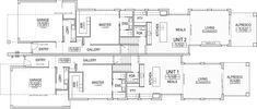 It's rare that we feature a dual-occupancy project on Lunchbox Architect, but the attention to quality makes this one stand out. Narrow House Plans, My House Plans, Family House Plans, House Floor Plans, Duplex Floor Plans, Modern Floor Plans, Modern House Plans, House Floor Design, Home Design Floor Plans