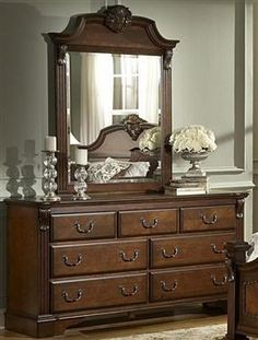 Legacy Brown Cherry Wood Metal Glass Dresser