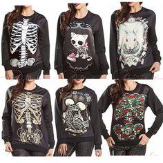2015 Autumn Winter Women Men 3D Hoodies Pullovers Sweatshirts Galaxy Sudaderas Harajuku Top Skull Print Rose Cat Rabbit Lover