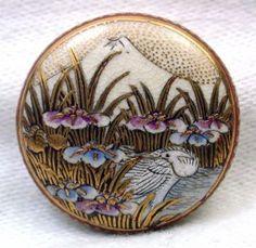 Antique Meiji Satsuma Button Egret With Iris Flowers Mt.  Fuji Gold Accents photo