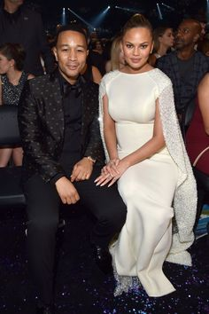 John Legend and Chrissy Teigan at the Annual GRAMMY Awards on Feb. 15 in Los Angeles Best Evening Dresses, Evening Gowns, Grammy Awards 2016, Chrissy Teigen John Legend, Gala Gowns, Glamorous Dresses, Dress Makeup, Celebrity Couples, Celebrities