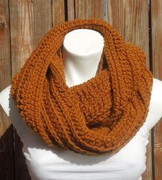 Amber Crochet Infinity Scarf Chunky Cowl Teen by AurellaBlue, $36.00