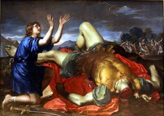 David remerciant Dieu après la mort de Goliath - Tableau anonyme, première…