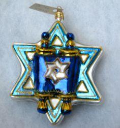 New Christopher Radko Rare Star of David Torah Hanukkah Chanukah Jewish Ornament