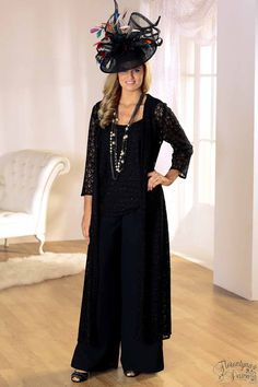Penguin Designs Black Trouser Set with Long Lace Jacket and Lace Camisole
