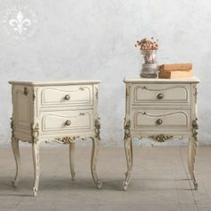 Beautiful Pair of Vintage Nightstands in Original Off-White Finish $1,535.00 #thebellacottage #shabbychic