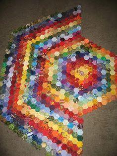 Starflash Quilts English paper pieced hexagon quilt, work in progress