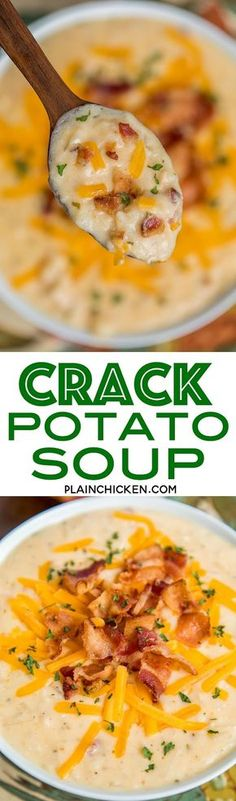 Slow Cooker Crack Potato Soup - potato soup loaded with cheddar, bacon and ranch. This soup is SO addictive! I wanted to lick the bowl!!! Frozen hash browns, cream of chicken soup, chicken broth, cheddar, bacon, ranch, cream cheese.