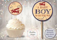 Airplane cupcake topper Airplane party decoration vintage Airplane Baby Shower, Airplane Party, Baby Shower Parties, Baby Shower Themes, Shower Party, Airplane Cupcakes, Rustic Birthday, Flamingo Birthday, Party Catering