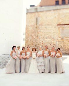 Super light gray bridesmaid dresses