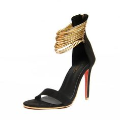 Gold and Black Strappy Sandals Women Back Zip Sandals Heels Fashion Summer Shoes  www.essish.com/