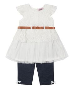 Love this Ivory Lace Belted Tunic & Leggings - Toddler & Girls on #zulily! #zulilyfinds