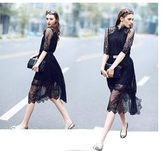 [~$15] Wholesale Womens Clothing black lace stitching Hollow out summer dress fashion plus size vestidos elegant evening party Casual Dresses