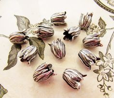 Antiqued Silver Ox Leaf or Tulip Flower Petal Bead Caps Cone