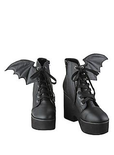 Ironfist Iron Fist Bat Wing Boots - OK, not for me, but I bet there are plenty of young women who would love them, lol. Lace Up Heel Boots, Black Lace Up Shoes, Black Platform Boots, Lace Up High Heels, Heeled Boots, Shoe Boots, Laced Boots, Tall Boots, Ankle Boots
