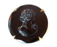 Victorian Cameo Brooch Black Glass French by BeckoningBeefyGems, $38.00