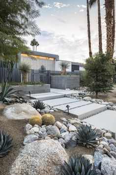 Add value to your home with best front yard landscape. Explore simple and small front yard landscaping ideas with rocks, low maintenance, on a budget. Front Yard Decor, Modern Front Yard, Small Front Yard Landscaping, Modern Landscaping, Backyard Landscaping, Landscaping Ideas, Landscaping Software, Mid Century Landscaping, High Desert Landscaping