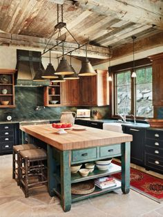 Mountain Style Brown Kitchen with Green Accents