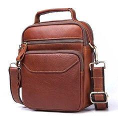 5b34043dc1 MIOHS Genuine Cowhide Leather Shoulder Bag Small Messenger Bags Men Travel  Small Messenger Bag