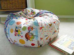 DIY Bean Bag....make a smaller fuller version for a foot stool!!!