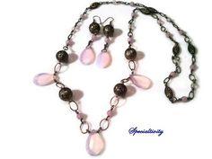 34 inch Pink Opalite Antique Brass Filigree beaded necklace/earrings | specialtivity - Jewelry on ArtFire