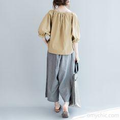 Khaki V neck oversize tops plus size cotton blouses womens shirts