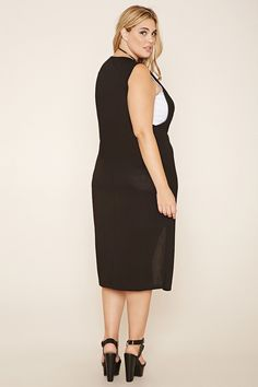 Plus Size Layered Split-Front Dress