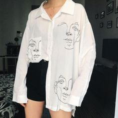 Women's Tops and Blouses Cotton White Shirt Line Face Print Retro Shirts with Long Sleeve White Blouse Lady Spring Summer-teefury Fall Shirts, Summer Shirts, Long Shirts, Long Shirt Outfits, Long Sleeve T Shirts, Diy Clothes, Clothes For Women, Ladies Clothes, Style Clothes