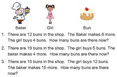 Adding & Subtraction Problem Solving - Baker's shop maths problems for children to use RUCSAC method to solve. Year 1 Maths, Math Problem Solving, Number Bonds, Primary Maths, Math Problems, Numeracy, Learning Tools, Math Games, School Ideas