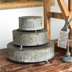Give candles, plants and treats a lift with these Intricate Round Display Risers, Set of For more display platforms visit Antique Farmhouse. Shabby Chic Farmhouse, Antique Farmhouse, Farmhouse Style Decorating, Shabby Chic Decor, Farmhouse Decor, Rustic Wood Furniture, Antique Doors, Antique Vanity, Jewelry Armoire