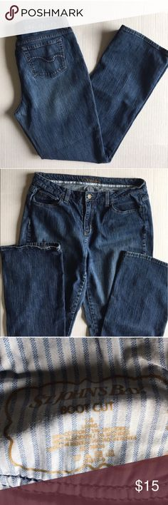 """St John's Bay Boot Cut Blue Jeans These comfortable jeans are perfect for the weekend.  Pair with any top your choose.  Measurements: Size - 14 Long.  length - 41.5""""/Waist - 16.5""""/Inseam - 31.5""""/Rise - 10.25"""" St. John's Bay Jeans Boot Cut"""