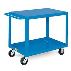 """HERCULES Premium Flush-Shelf Shop Carts - Blue by HERCULES®. $323.00. Lower shelves have a 2"""" lip that keeps items from rolling off while the top shelf features a flush design for easy loading and unloading. All-welded HERCULES Premium Flush-Shelf Shop Carts feature quality construction that assures years of trouble-free service. 11/2"""" angle steel with solid 12-gauge shelves. Welded tubular push handle maneuvers units on 5"""" phenolic casters—2 swivel, 2 rigid. ..."""
