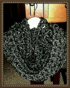 Black with Silver Thread Crochet Cowl Handcrafted