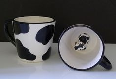 Pair of 1998 Moo Cow Mugs Cow Print with Hidden Cow Inside  by Lotus Never Used  $25
