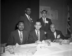 Human Relations Meeting at Statler Hilton. Sitting (L-R) Tom Bradley, Kenneth Hahn, Gilbert Lindsay. Photo by Charles Williams.