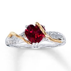 Fashion, Engagement and Wedding Rings - Jared – Lab-Created Ruby Ring Diamond Accents Sterling Gold - Ruby Jewelry, Diamond Jewelry, Jewelry Rings, Jewelery, Fine Jewelry, Jewelry Ideas, Gold Jewelry, Diamond Rings, Diamond Engagement Rings