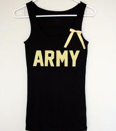 Army Tank Top Shirt, Military Army Wife, Fiance, Girlfriend, Workout Tank (women, teen girl). $24.00, via Etsy.
