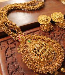 Buy Gorgeous  antique pink-green huge lakshmi bridal  long haar set necklace-set online