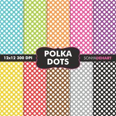 Polka Dot Digital Paper Patterns Graphics 10 Commercial use inch digital papers. Each sheet is saved at 300 DPI. by SonyaDeHart Scrapbook Patterns, Diy Scrapbook, Scrapbook Layouts, Polka Dot Paper, Polka Dots, Digital Collage, Digital Papers, Pattern Paper, Paper Patterns