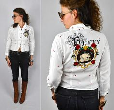SEQUINED 80s BETTY BOOP Shirt Top Floral by ItaLaVintage on Etsy