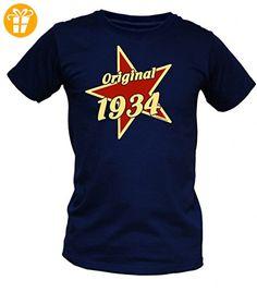Birthday Shirt - Original 1934 - Lustiges T-Shirt als Geschenk zum Geburtstag - Blau, Größe:3XL (*Partner-Link)