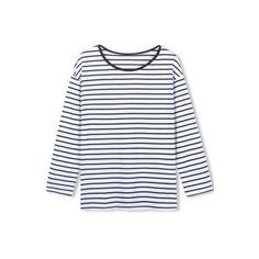Round Neck Classic Stripes Long Sleeve Tee (51 ILS) ❤ liked on Polyvore featuring tops, t-shirts, long sleeve tops, striped top, striped t shirt, longsleeve t shirts and longsleeve tee