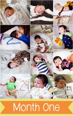Document your baby's first year one day at a time. Take a daily photo with the number of days beside them. These are so cute!